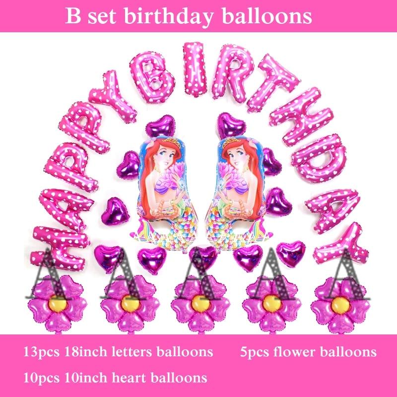 free shipping princess balloons little mermaid cartoon foil birthday balloons pr