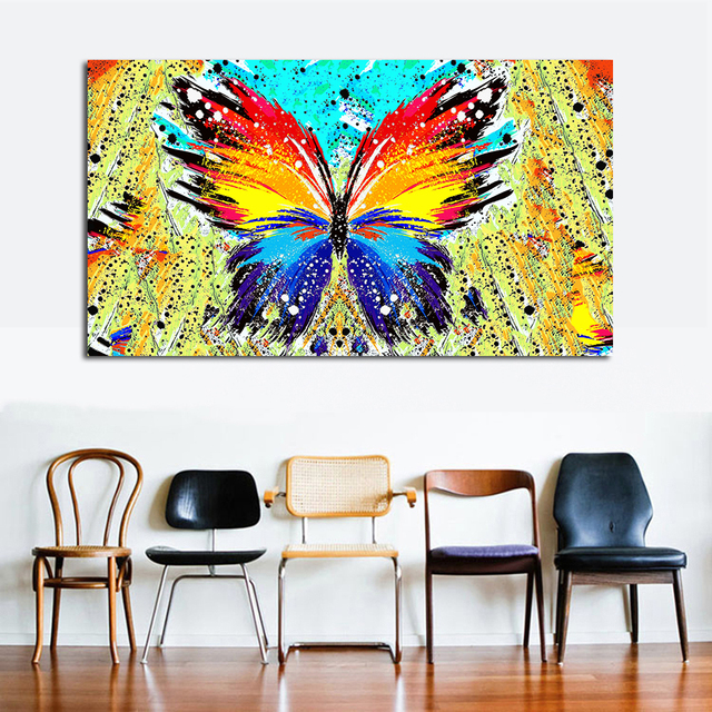 JQHYART Wall Art Paintings on Canvas Color Butterfly Living Room Painting Canvas Art Posters And Prints Home Decor No Frame
