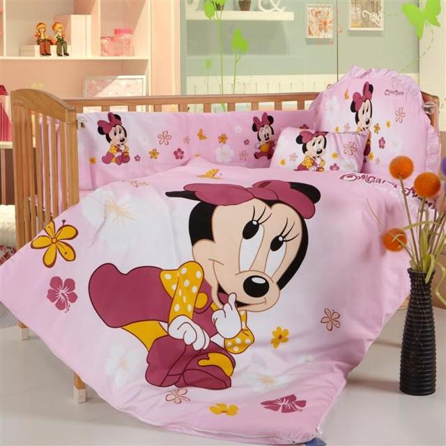 Promotion! 8pcs Mickey Mouse baby cot bedding set cotton curtain crib bumper bed linen ,include (bumpers+duvet+matress+pillow)