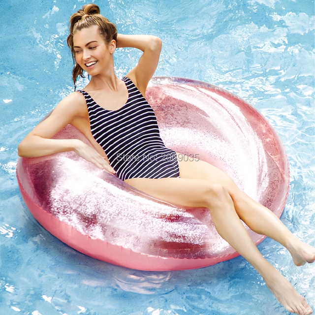 110CM Giant Inflatable Swim Ring With Colorful Glitters Inside For Adults 2018 Newest Summer Women Pool Float Water Toys Piscina