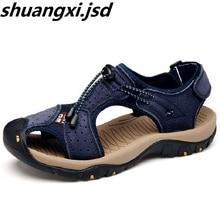 Sandalias de los hombres de Alta Calidad de Punta Proteger Los Hombres Al Aire Libre Casual Sport Beach Sandals Nuevo Llega El Verano de Cuero Zapatos de Suela Suave