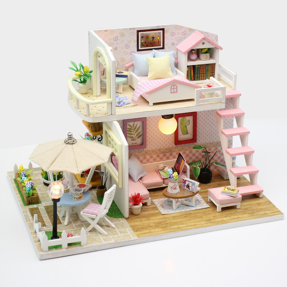 New Doll House Toy Miniature Wooden Doll House Loft With: New Furniture Diy Doll House Wooden Miniature Doll Houses