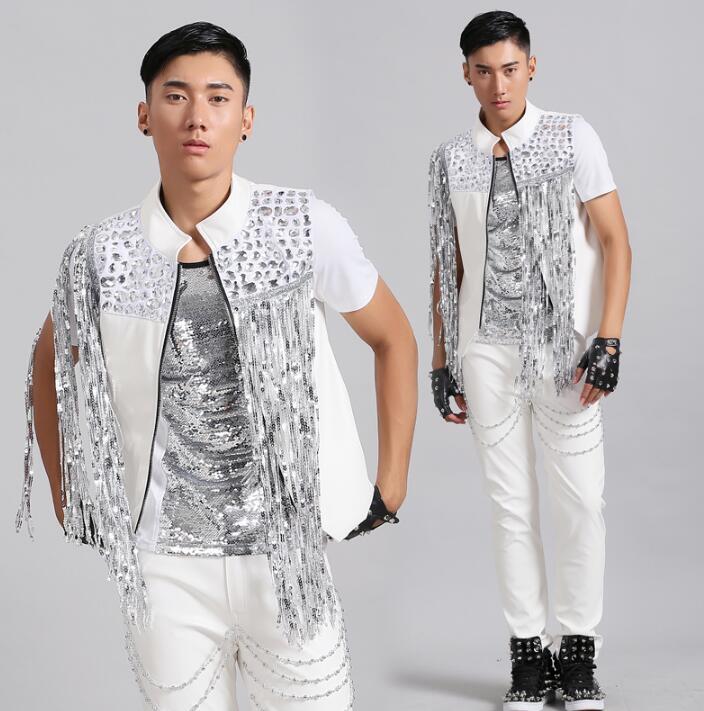 White colete masculino men tassel vest leather clothing camiseta tirantes personalized singer dance stage street star dress