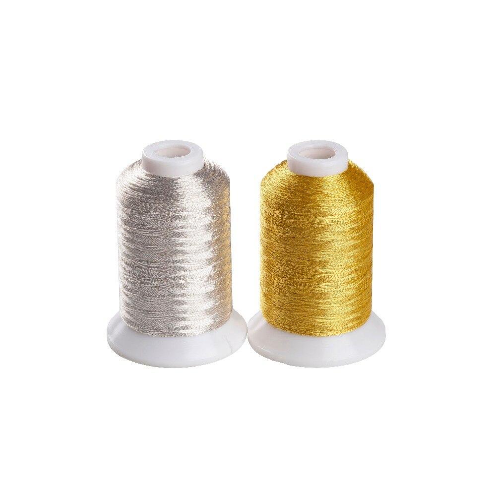 Fio metálico puro da cor do ouro e da prata para a máquina 500m do bordado/carretel