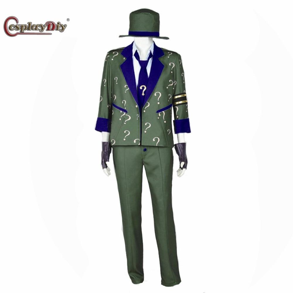 Cosplaydiy Arkham City Cosplay Dr. Edward Nigma Costume Suit Adult Men Women Halloween Csotumes Custom Made J15