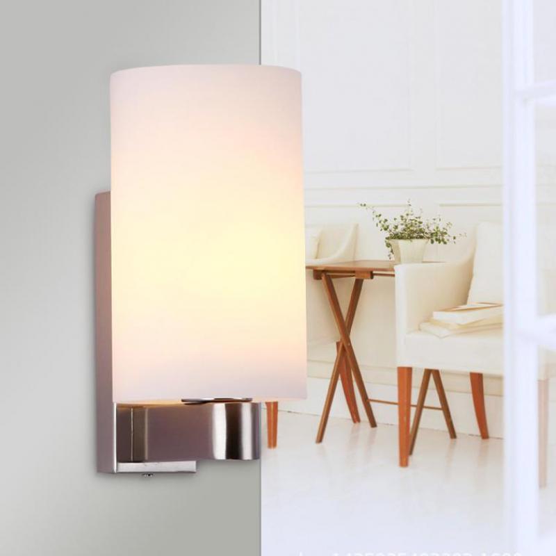 Lampes de mur Led modernes à la maison de tête simple pour la lampe de mur en verre de cristal de chambre à coucher
