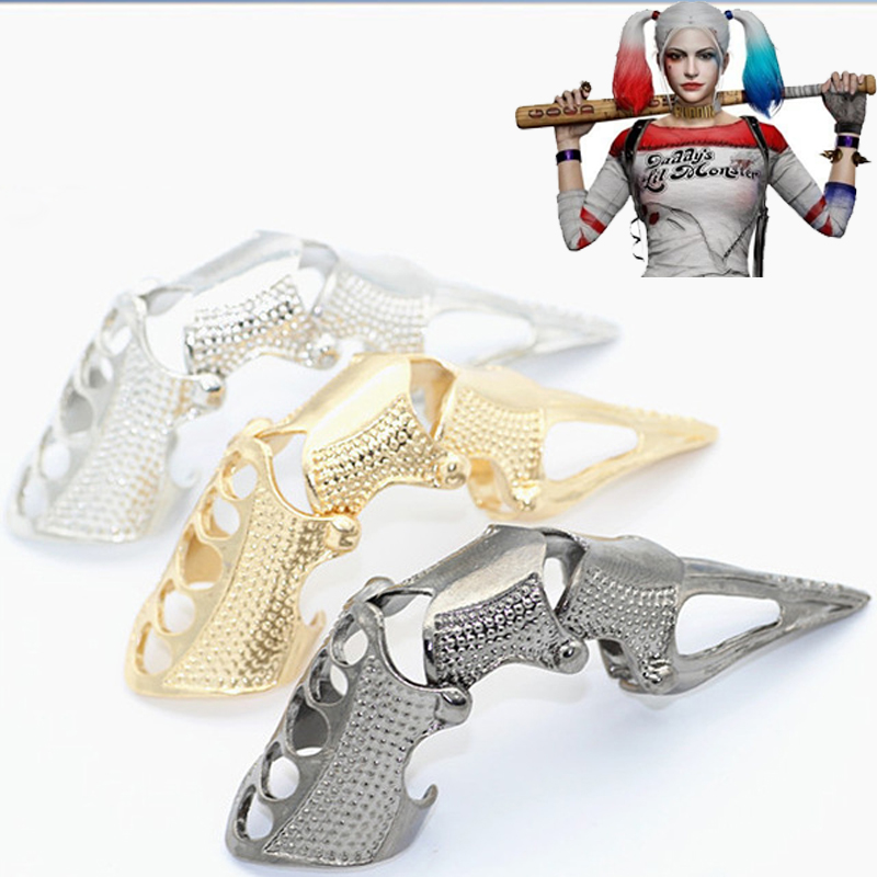 2017 New Batman <font><b>Suicide</b></font> Squad Harley Quinn Cosplay Accessories Golden Gothic Celestia Punk Finger Bone Ring image