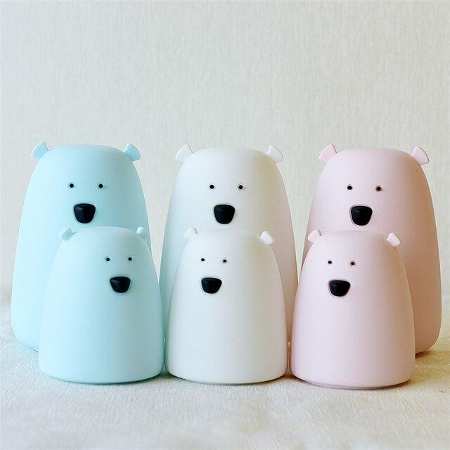 Lámpara de noche de silicona, lámpara de noche de oso, luz de Color, lámpara de noche bonita para niños, luz de dormitorio, Chico, regalo, juguete reductor de presión