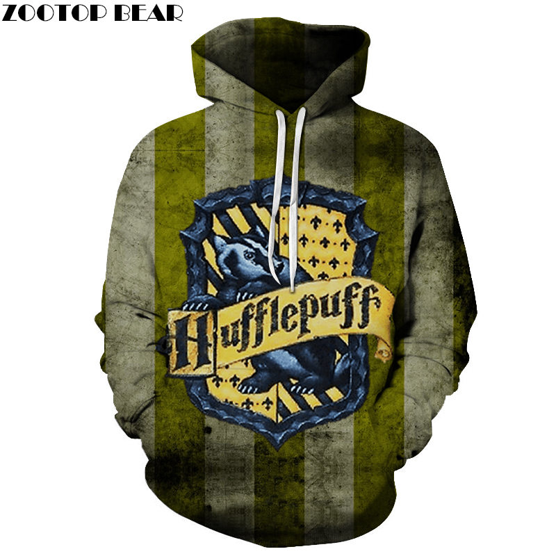 Hufflepuff Men Hoodie Casual Movie Game Long Sleeve 3D Print Pullovers Fashion Anime Sweatshirts Mens Streetwears ZOOTOP BEAR