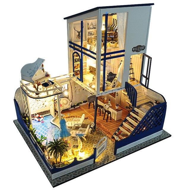 Miniature Glass Villa Music Box Wooden Doll House DIY ...