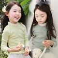 Girls Tops Lace Collar Long Sleeve Girls T Shirt Pure 2016 Spring New Kids T Shirt Girls Button Fashion Children Clothing 2127