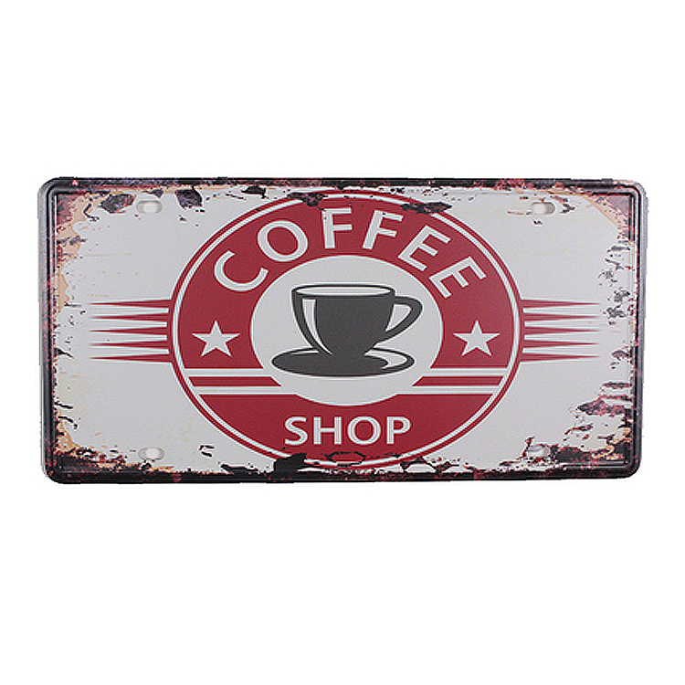 UA-CP-00120 NEW arrival car number  about coffee  vintage Metal tin signs License car plates plaque wall art craft 30*15 CM