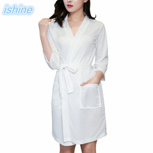 Women Waffle Bathrobe Nightgown Sleepwear Cardigan Robe Pajamas White Hotel  Bathrobe 2018 Fashion Sleepwear Gown For dedea6288