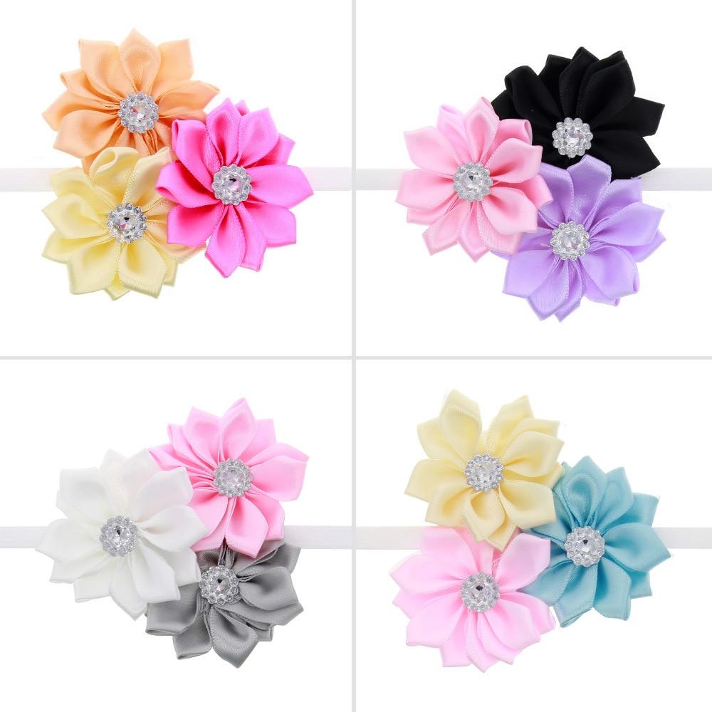 Big Sale Newborn Baby Girls Satin Ribbon 3 Mini Flower Headbands Photography Props Infant Baby Headband