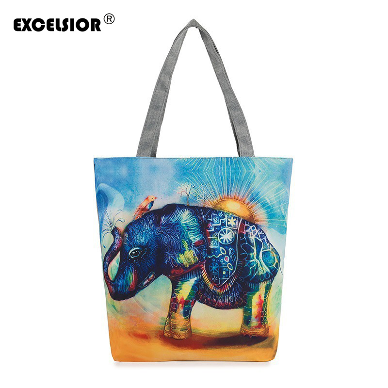 EXCELSIOR Elephant Printed Canvas Tote Women Casual Beach Bags Bolsa Feminina Shopping Handbags sac a main femme de marque floral printed canvas tote female single shopping bags large capacity women canvas beach bags casual tote feminina