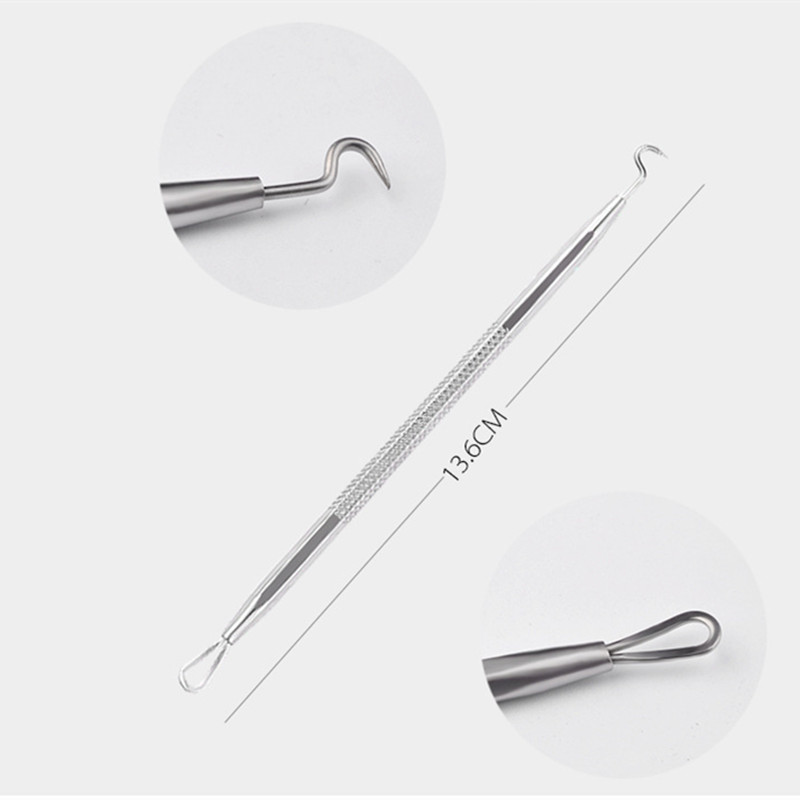 Купить с кэшбэком 12Pcs Stainless Steel Blackhead Acne Remover Needle Tool Kit Blackhead Acne Comedone Pimple Blemish Extractor Face Care Tool Set