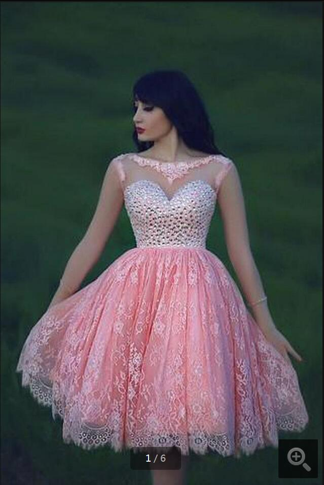Long sleeve Pink Ball Gown Prom Dresses 2016 new Beaded Tulle Lace ...