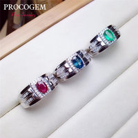 PROCOGEM Natural Emerald Sapphire Ruby Rings for Men Anninversary Party 4x6mm Genuine gems Fine jewelry 925 Sterling Silver #511