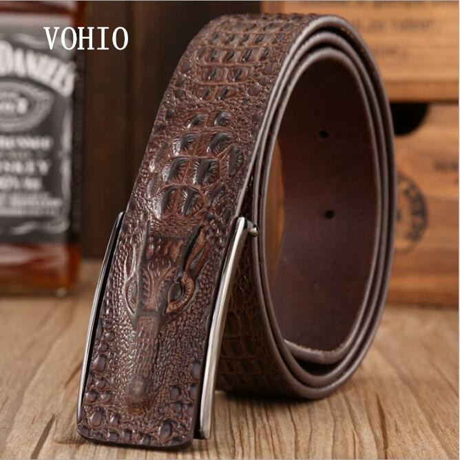 VOHIO Fashionable alligator belt High quality leather smooth buckle perforated belt han edition recreational mens cowboy belt