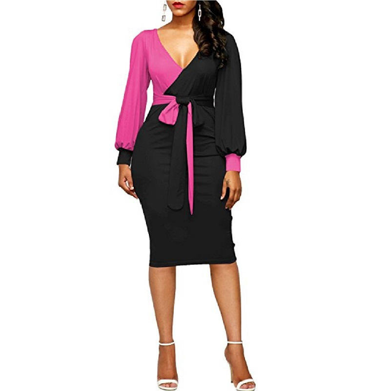 Women Dress  New Long Puff Sleeve Bodycon Elegant Office Pencil Dress Spring Knee Length Patchwork Party Dresses Vestidos