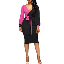 Women Dress 2018 New Long Puff Sleeve Bodycon Elegant Office Pencil Dre