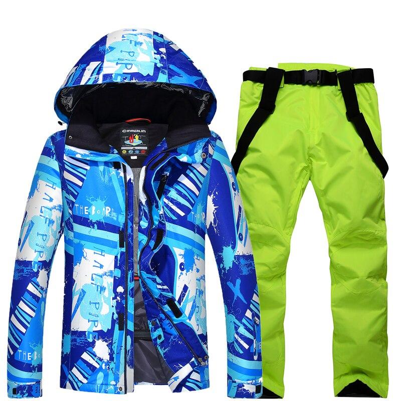 Ski Suit Set Man Jackets Outdoor Sports Snowboarding Suit Clothing Waterproof Windproof -30 Warm Costume Jacket + Pant woman snow jacket outdoor sports ski suit set waterproof windproof 30 warm snowboarding jacket pant ski suit set winter coat