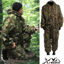 Outdoor Bionic Leaf Camouflage Clothing Ghillie Suit 3D Camo Hunting Jackets and Pants Suits Jungle Woodland Birdwatching breathable jungle bionic camo clothes wild hunting suits for hunter oem factory