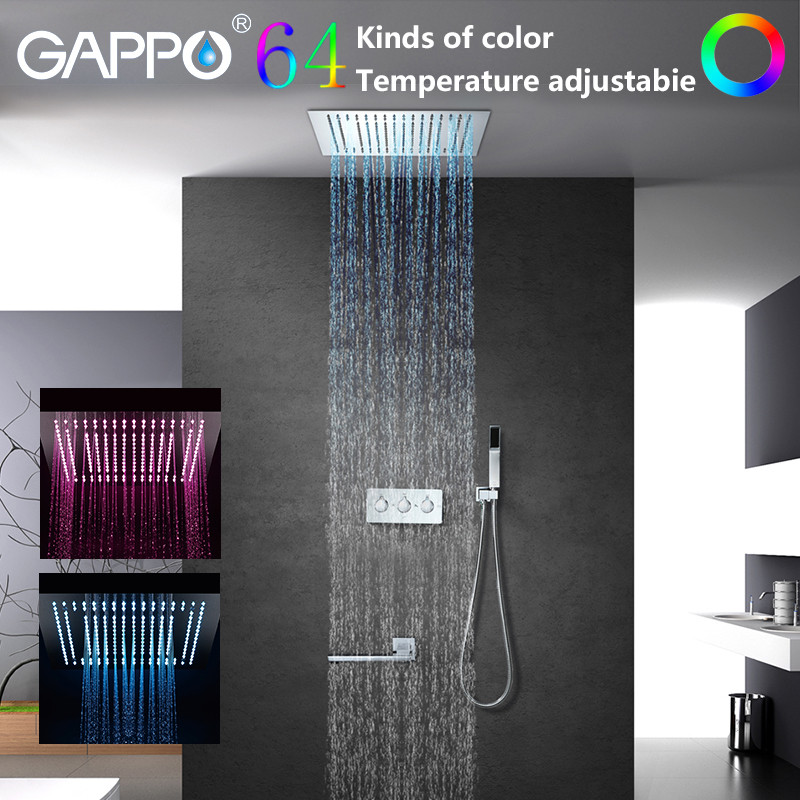 GAPPO salle de bain robinet de douche LED cascade salle de bain ensemble de douche baignoire robinet mitigeur de douche mural mitigeur grifo ducha