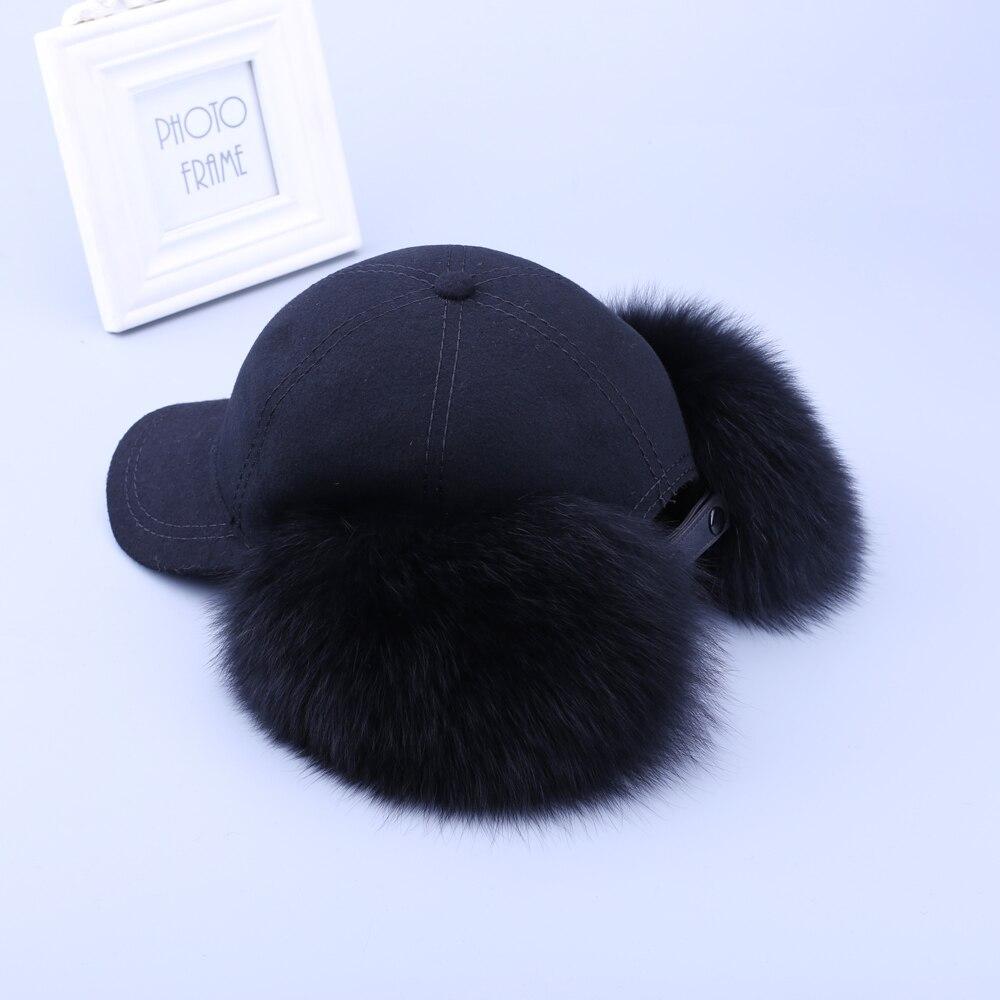 Mode Neue 2019 Echte echtem Fuchs Pelz Waschbären Pelz Trim Kaschmir Wolle Mischung Baseball Caps Winter Bomber Hüte Ohrenschützer Kappe