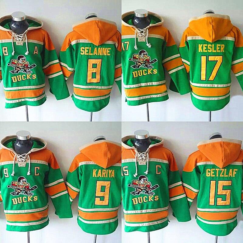 Mighty Ducks Movie Ice Hockey Jersey Hoodies #8 Selanne #9 Paul Kariya #15 Getzlaf #17 Kesler Hoodie Sweater Hockey Jersey hockey jersey mighty ducks movie jerseys 8 selanne 9 paul kariya stitched jerseys winter sport wear ice wholesale dropship