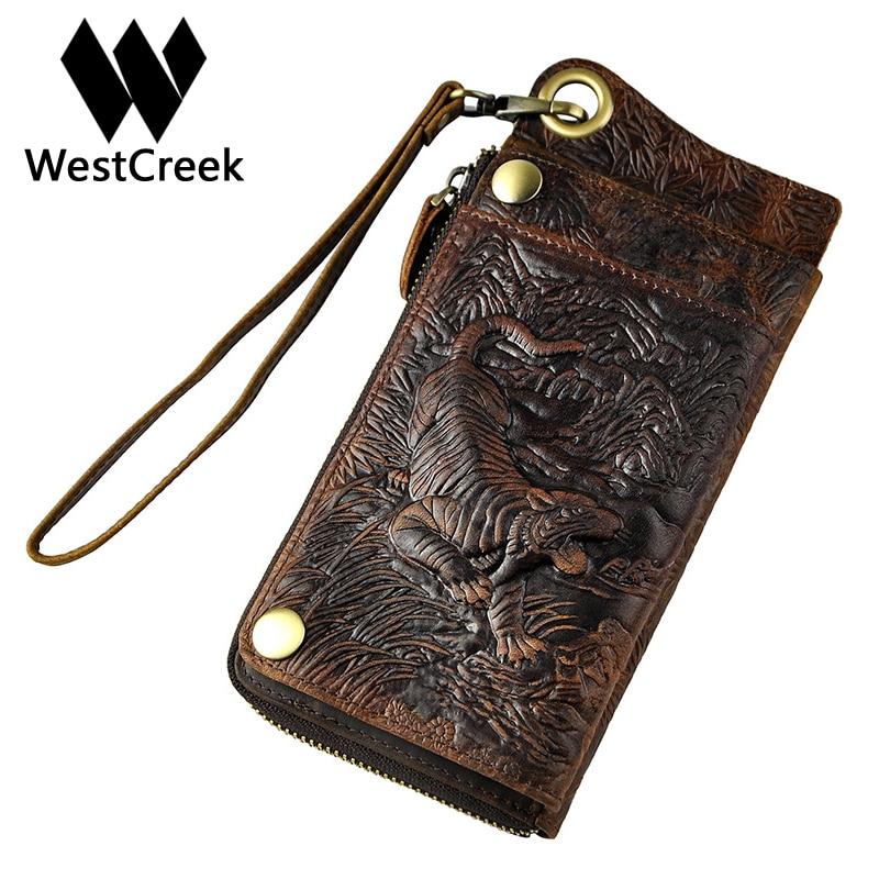 Westcreek Brand Genuine Leather Men Vintage Tiger Wrist Clutch Bifold Wallets Card Holder Dragon Phone Wallet Coin Pocket Purse стоимость