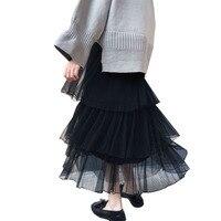 Vintage Spring Summer Skirt Suspenders Multi-Layer Mesh Tutu Skirts Long For Women Tulle Skirt Falda Tul Jupe Tulle Femme Verano