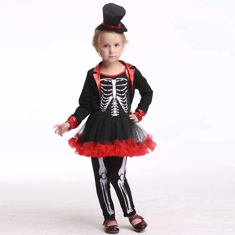 2017 Hot Skeleton Cosplay Costume Children Pirate Halloween ...