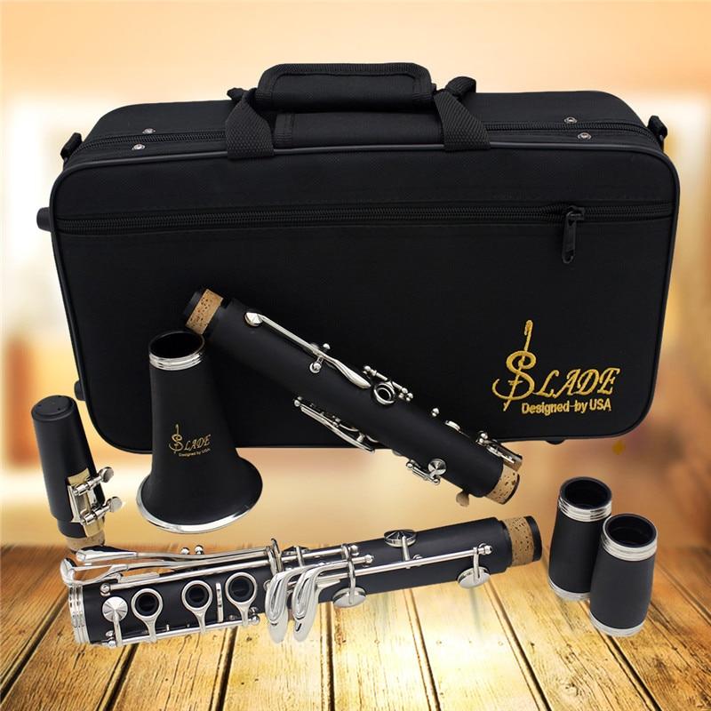 Clarinettes ABS 17 touches Bb Soprano plat clarinettes binoculaires avec chiffon de nettoyage gants Reed tournevis Instrument + 10 anchesClarinettes ABS 17 touches Bb Soprano plat clarinettes binoculaires avec chiffon de nettoyage gants Reed tournevis Instrument + 10 anches