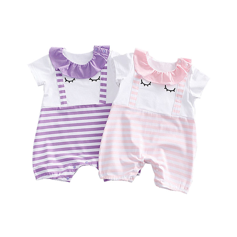 2017 Spring Autumn New Fashion Baby Girl Clothes Infant Outfit Cotton Cute Face Jumpsuit Ropa De Bebe Newborn Baby Girl Romper