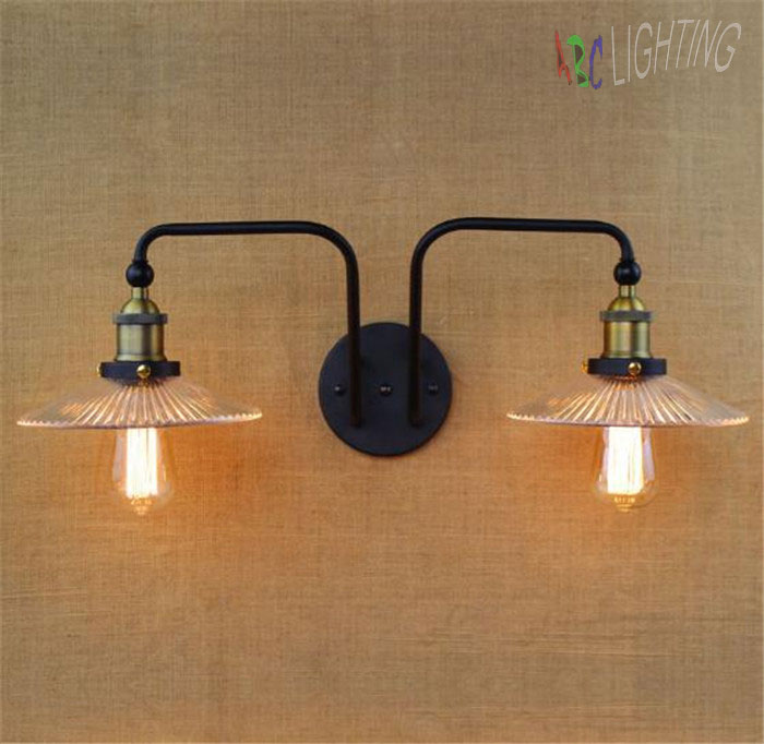 Double Swing Arm wall Lights E27 Industrial Clear Glass Lampshade Wall Sconce Iron Nordic Vintage Bar Decors luminaire applique 67050 hanging on the support arm swing arm control arms factory swing