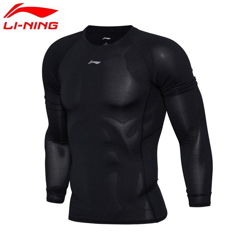 Li-Ning Men Running Series T-shirts Long Sleeve Breathable Tight LiNing Sports T-shirts AUDM047 MTL953