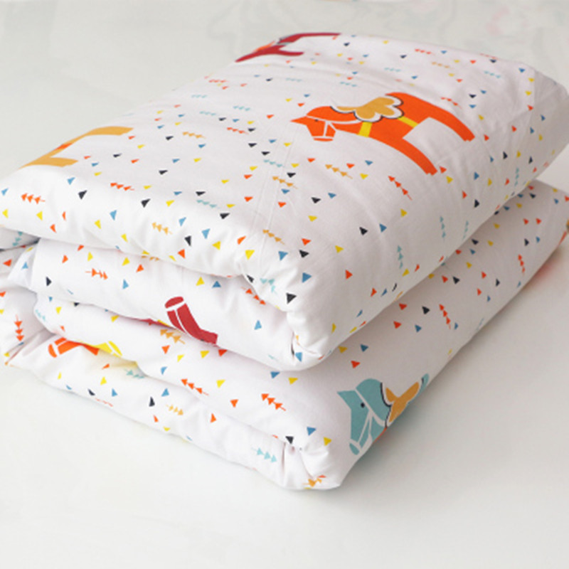 New 100% Cotton Cartoon Animals Baby Quilt Bedding Colorful Kids Children Crib Bedding Detachable White Pink Quilt 130*100cm free shipping baby cot cotton quilt kindergarten summer quilt removable cotton quilt is children 120 100cm