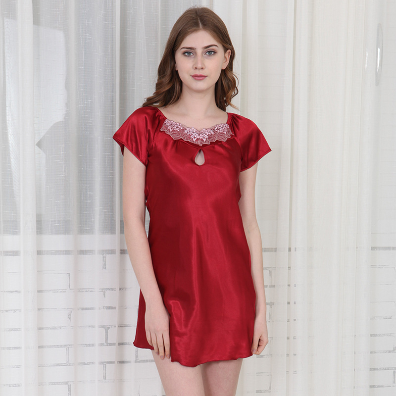 Summer New Ladies Lace Nightdress Short Sleeve Round Neck Thin Nightdress  Sexy Color Simulation Silk Nightdress Female Jw079-in Nightgowns    Sleepshirts ... d73d954dd