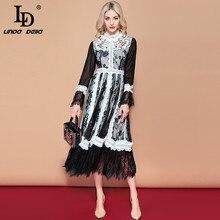 LD リンダ · ファッションロングドレス女性の長袖レースメッシュ花刺繍パッチワークヴィンテージドレスエレガントなパーティードレス