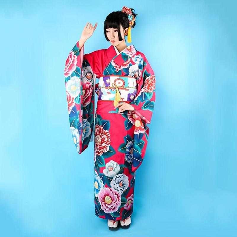 Traditional Women Yukata Bathrobe Elegant Cosplay Costumes Japanese Style Female Kimono With Obi Vintage Printed Flower Dress