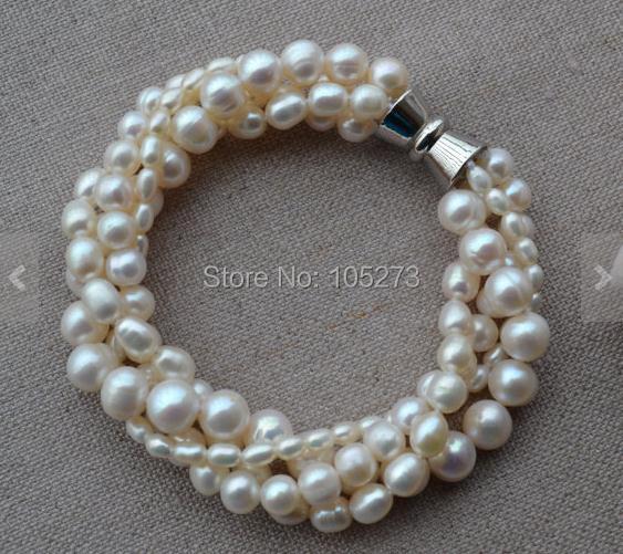 Nova Arriver pérola 4 linhas 7.5 polegada 3 - 8 mm branco de água doce pérola de jóias de casamento fecho