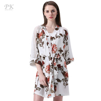 PK japanese kimono robe femme ete 2018 summer floral lace belt chiffon women dress robe femme beach japanese kimono robe vintage