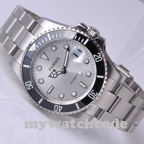 40mm Parnis white dial Automatic MIYOTA movement sapphire glass Mens Watch P292 40mm parnis white dial sapphire glass automatic miyota movement mens watch p201