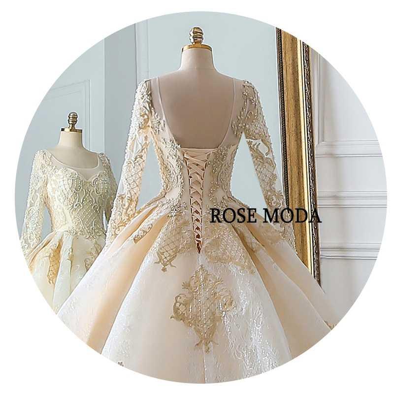 Розовое модное роскошное Золотое свадебное платье с длинными рукавами кружевное свадебное платье es 2019 с бусинами с длинным шлейфом реальные фотографии