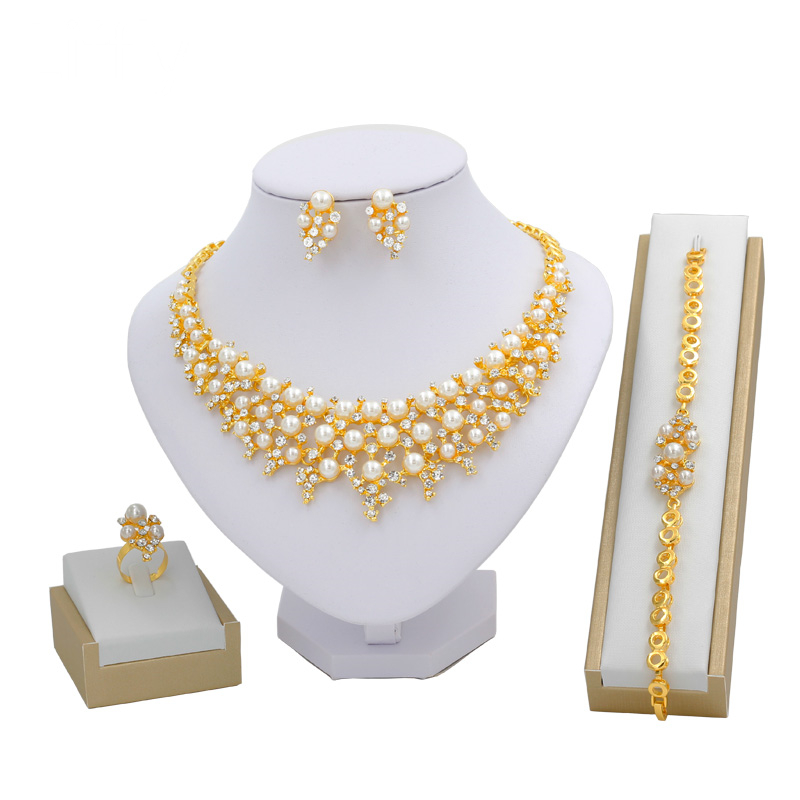 Italian Fashion Charms Women Wedding 24 Gold Jewelry Sets Pearl Crystal Necklace Ring Bracelet Party Exquisite Gift Jewelry