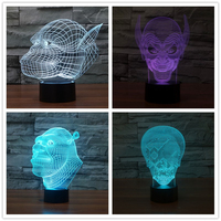 Halloween Party Supplier The Ghost Vampire Film Characters Monster Skull 3D Led Table Lamp Visual Night
