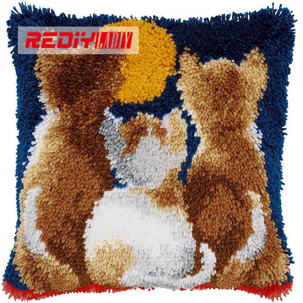 Kit de coussin crochet crochet 3D trois chat avec broderies de lune Kit de crochet tapis fil fait à la main inachevé broderie taie d'oreiller