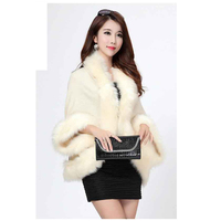 2016 Women S Wrap Beige Black Pashmina Wool Knitted Fake Cashmere Shawl With Fur Trim Collar