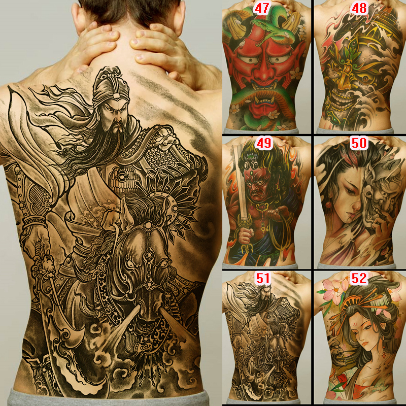 Full Back Tattoo Buddha Loyalty Geisha Dragon Tiger Carp Designs Men Temporary Tattoo Sticker Large Size New Body Art Girl Model